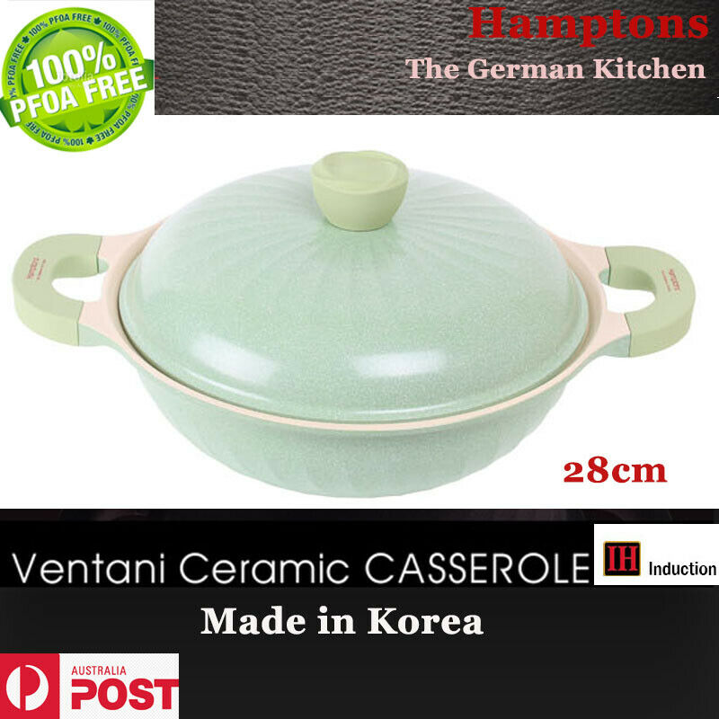 Hamptons Ventani Ceramic Coating Casserol 28cm Pot Gas Induction 6Layers Coating