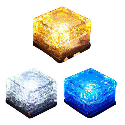 Solar Power Clear Glass Ice Rock Brick Paver Light LED Garden Decor uk