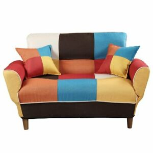 Details about Rainbow 2 Seater Fabric Sofa Armchair Couch Recliner Sofa Bed  Daybed with Pillow