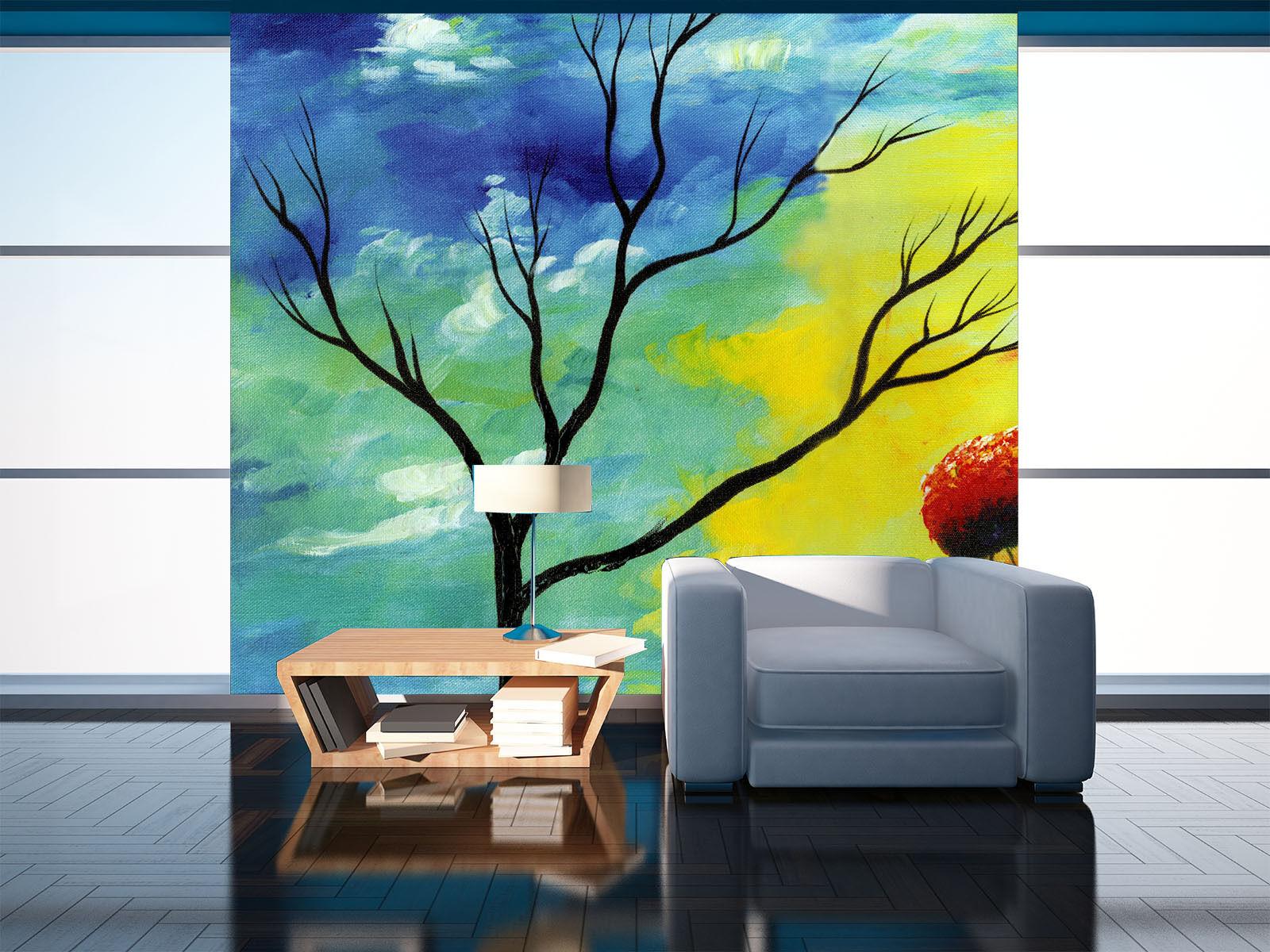 3D Viele Farben, Baum 0977 Fototapeten Wandbild Fototapete BildTapete Familie DE