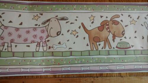 "Dog wallpaper border 5 yds purple, green, pink, beige 10.25/"" tall $10 max ship"