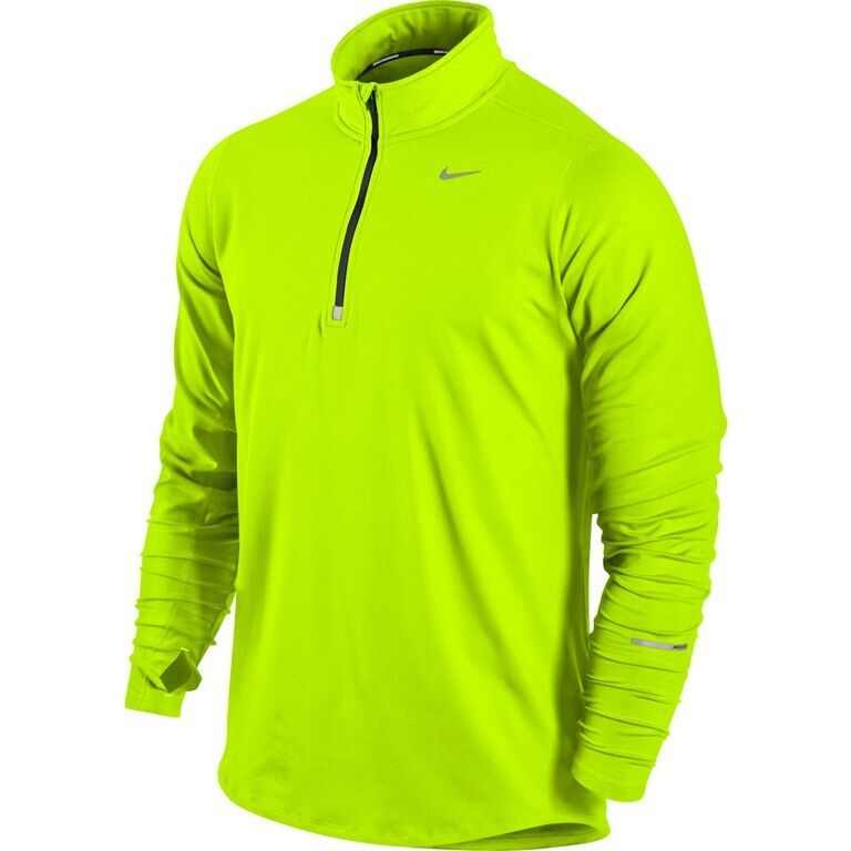 Nike Mens Element Half Zip Long  Sleeve Running Shirt, volt, New with Tags  enjoy saving 30-50% off