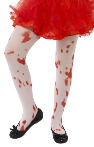 Girls White Blood Splattered Stained Halloween Fancy Dress Costume Outfit Tights