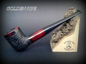 HAND-MADE-WOODEN-SMOKING-PIPE-for-TOBACCO-PEAR-51-Straight-Rustic-Red-Filter