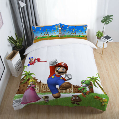 Galaxy Kids Bedding Set Duvet Cover, Mario Bed Sheets Queen
