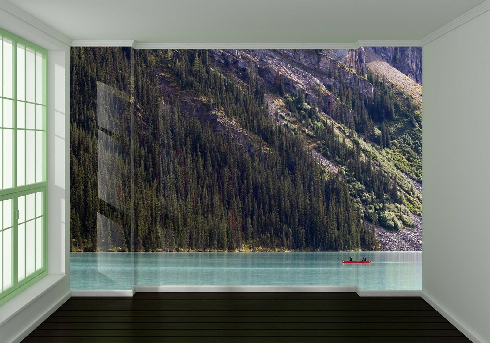 3D Mountains pine lake Wall Paper Print Decal Wall Deco Indoor wall Mural
