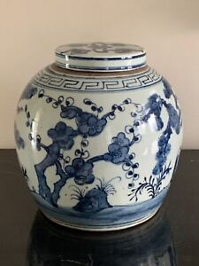 Superb Antique Chinese Blue and White Pottery Lidded Ginger Jar