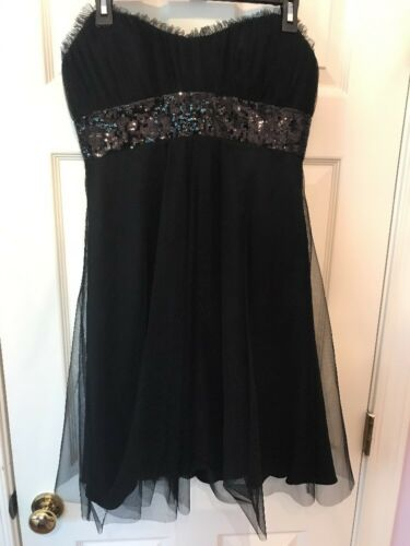 Badgley Mischka Black Cocktail Dress size 8 Strapl