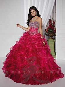 NWT-Quinceanera-Collection-26743-Fuchsia-and-silver-Size-6-Full-ball-gown-jewels