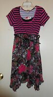 Speechless Girls Striped Bodice Floral Skirt Dress + Belt Black & Burgundy 7