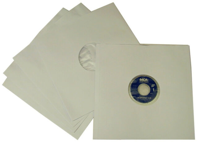 """(25) 12IALD 12"""" White Paper / Plastic Laser Disc INNER SLEEVES Poly Lined Covers"""