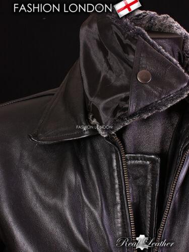 PILOT Black Men/'s Fur Collar Lambskin Leather Cool Short Aviator Bomber Jacket