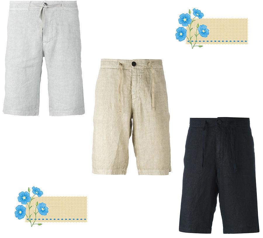 100% Linen Flax Shorts  Bermuda  Drawstring  Belt Loops  Men's   HandMade