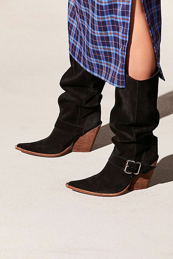 NIB Jeffrey Campbell Reed Black Suede Pointed Toe Slouch Boot SZ 8 39  268