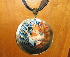 Russian ANGEL Hand Made Painted DAY NIGHT ANGELS SHELL Pendant Necklace Magical