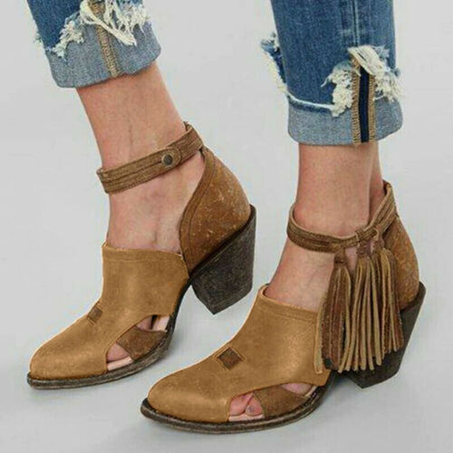 Womens Vintage Tassel Ankle Boots Buckle Mid Block Heel Cowboy Cowgirl Boots UK