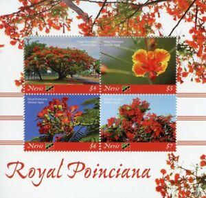Prudent Nevis 2019 Neuf Sans Charnière Royal Jasmins Flame Tree 4 V M/s Fleurs Arbres Nature Timbres-afficher Le Titre D'origine