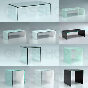 exklusiver design glas tisch couchtisch glastisch echtglas gebogen vollglas. Black Bedroom Furniture Sets. Home Design Ideas