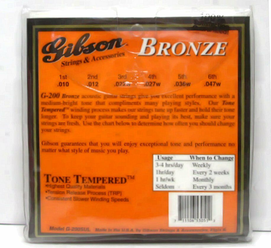 Lot Lot Lot 10 Gibson Bronze Alloy Wound Acoustic Guitar Strings Super Ultra Light 10/47 b97848