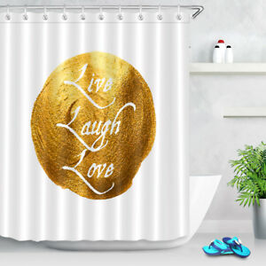 Image Is Loading 72X72 034 White Shower Curtain Gold Paint With