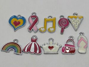 10-Assorted-Silver-Enameled-Pendants-Charm-for-Key-Ring-Bracelets-Necklace