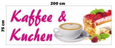 Banner Kaffee /& Kuchen 200 x 75 cm Spannband Werbung Bäckerei Café Restaurant