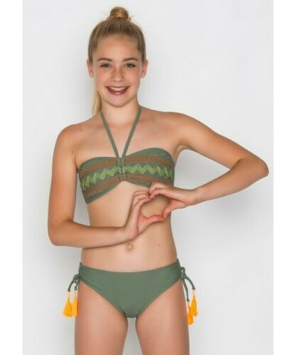 Boobs/&Bloomers 38.61.3097 Mädchen Yeal Bandeau Bikini Grün//Orange Gr. XXS bis S