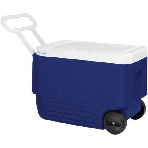 IGLOO 38QT WHEELED ICE CHEST COOL BOX WHEELIE COOL ROLLER 36L CAMPING COOLER
