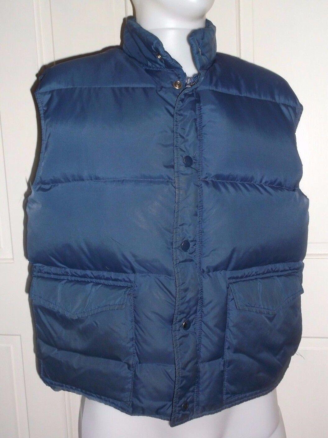 Rare Vintage Argus Down Western Puffer Bubble Full Zip Snap Up Vest Mens L Navy