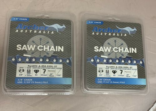 """2 Pack 28/"""" Archer Chainsaw Chain 3//8/"""" FULL CHISEL SKIP TOOTH .050 Gauge 93DL"""