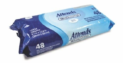 """8.7/"""" X 12.6/"""" Pack Of 48 Attends Unscented Washcloths"""