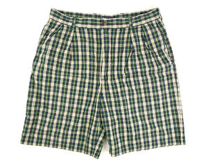 Tommy-Hilfiger-Mens-Size-36-Blue-Green-Yellow-Plaid-Casual-Shorts-9-034-Inseam