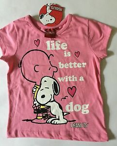 29f45851a3dbcc Girls Pink T Shirt with Peanuts Charlie Brown & Snoopy Life is ...