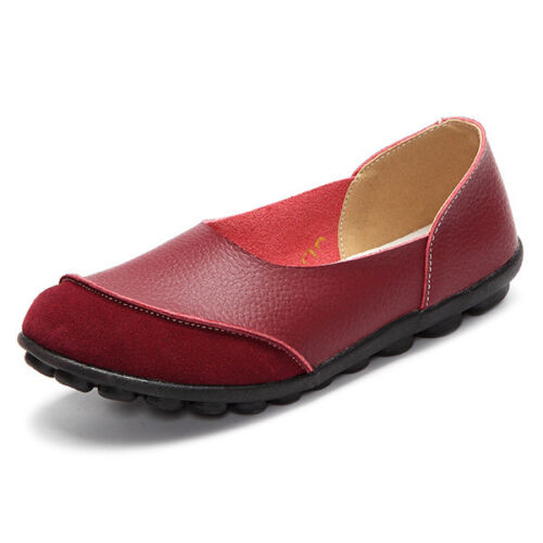 Ladies Round Toe Slip On Loafers Women Comfort Leather Patchwork Soft Flat Shoes