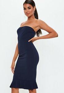 Missguided-Bandeau-Flippy-Hem-Midi-Dress-size-8