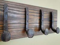 4 Railroad Spike Hooks Coat Hooks Wrought Iron Style Heavy Duty Shop