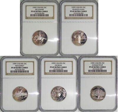 1999 S Silver State Quarter 5 Coin Proof Set NGC PF69 Ultra Cameo 25C New Label