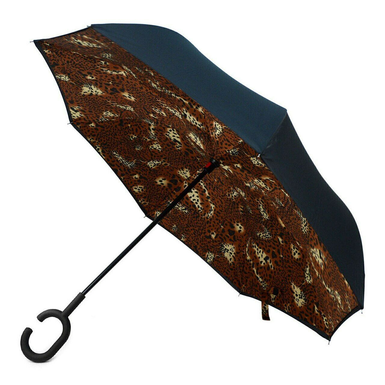 Inverted Umbrella Large C-Hook 49 IN LEOPARD Reverse Double Layer Windproof