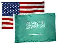 2x3 2'x3' Wholesale Combo Usa American & Saudi Arabia 2 Flags Flag