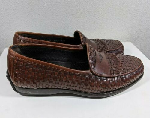 Bragano Men's Driving Loafers Shoe Brown Woven Lea