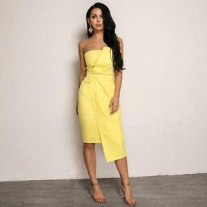 IZZY-Yellow-Off-Shoulder-Bardot-Bodycon-Midi-Party-Occasion-Dress-UK-10-12-14