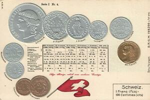 EARLY-1900-039-s-VINTAGE-SWITZERLAND-EMBOSSED-COPPER-SILVER-amp-GOLD-COINS-POSTCARD