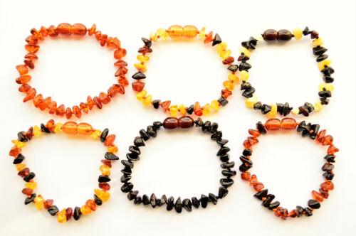 Natural Baltic Amber Bracelet Anklet for Adult SAFE Chips 4.3-10.6 Inch 11 Color