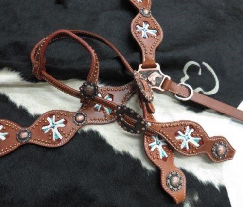 SHOWMAN Perles Croix Incrustation Cuir Bride /& Breast collar Set avec Cuivre Conchos!
