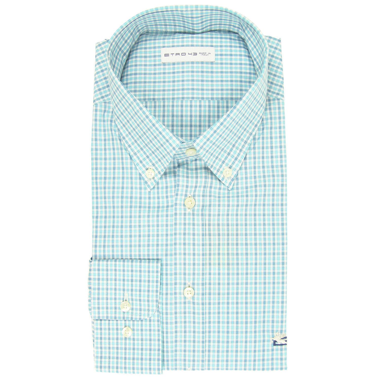 550 Etro Blau Plaid baumwolle hemd - Slim - (LR)