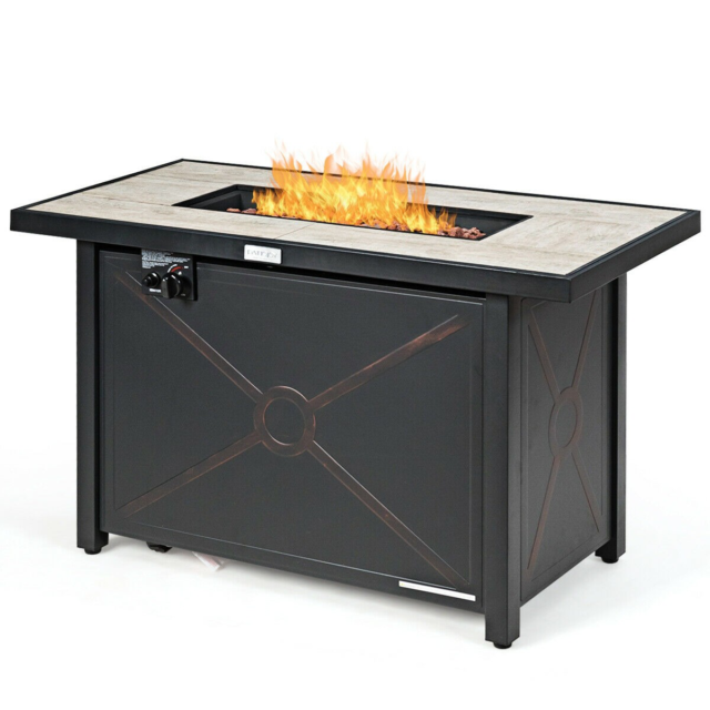 Fire Pit Table W 56 In Wave Burner Effect Propane 150 000 Btu High Quality For Sale Online Ebay