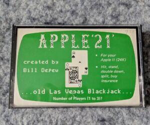 Apple-039-21-039-Apple-II-Softape-vintage-blackjack-computer-tape-game-gambling-1978
