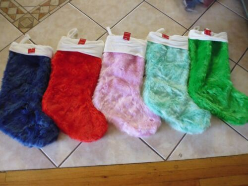 """21/"""" Long Thick Faux Fur Christmas Stocking Soft and Plush Green Blue Pink Red"""