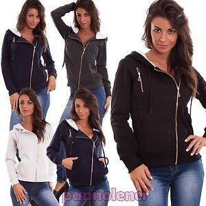 Felpa-donna-cappuccio-giacchetto-giacca-giubbino-giubbotto-cotone-nuova-Z-346