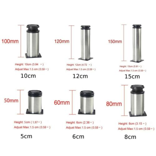 Details about  /Stainless Steel Adjustable Furniture Legs Metal Round Sofa Table Cabinet Feet UK
